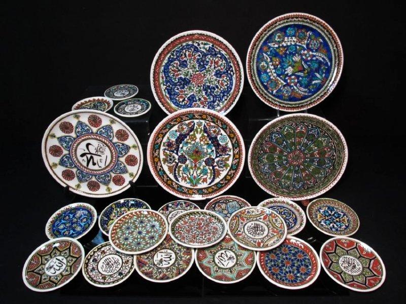 ASSORTED TURKISH HAND PAINTED CERAMIC PLATES