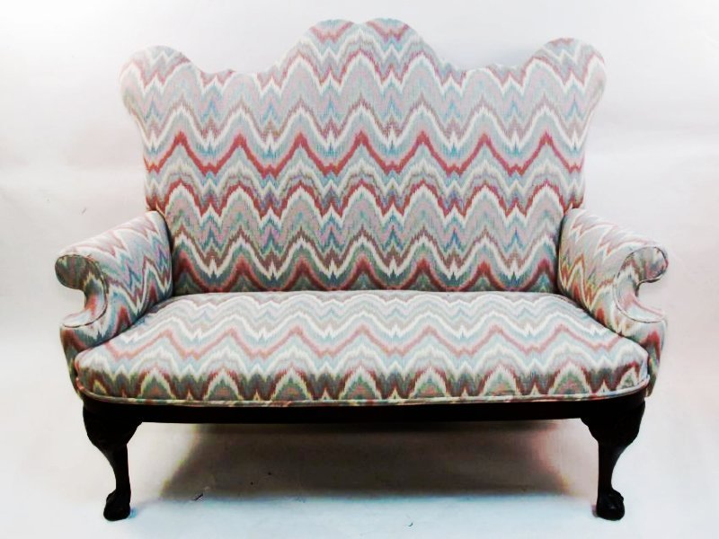 ANTIQUE CAMELBACK FABRIC UPHOLSTERED SETTEE