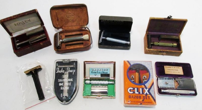 NINE VINTAGE ASSORTED SAFETY RAZORS: CLIX,