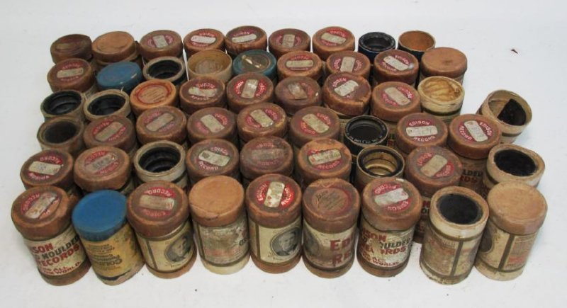 GROUP 50+ EDISON GOLD MOULDED CYLINDER RECORDS