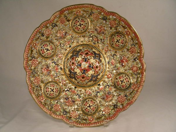 1: FISCHER BUDAPEST ZSOLNAY POTTERY STYLE CHARGER