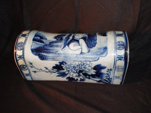 7A: CHINESE PORCELAIN BLUE WHITE PILLOW