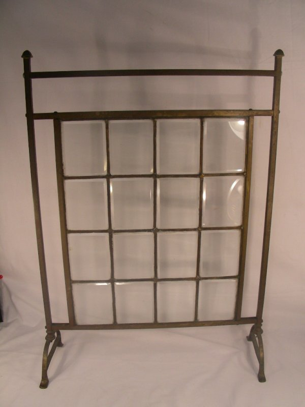 11: VINTAGE BRASS AND BEVELED GLASS FIRE SCREEN