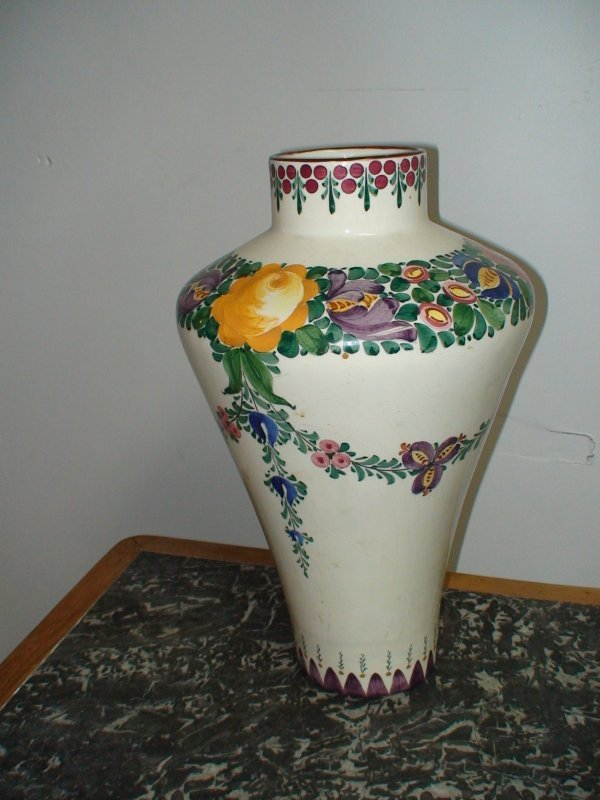 12A: ZELL BADEN GERMANY FLORAL FAIENCE  VASE