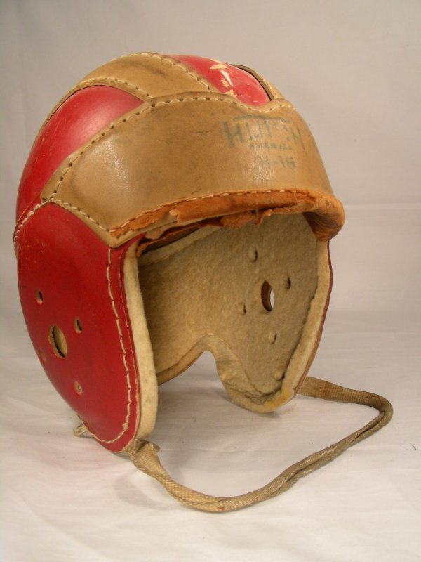 13: HUTCH ANTIQUE RED FOOTBALL HELMET with LEATHER