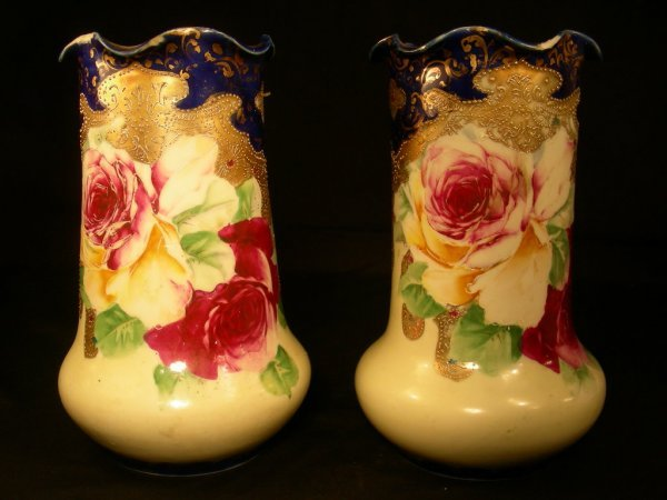 14: PAIR MORIAGE STYLE HAND PAINTED ROSE FLORAL VASES