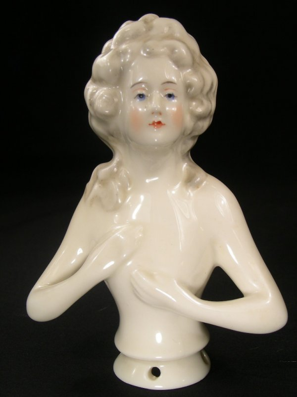 503: ANTIQUE CHINA PIN CUSHION DOLL NUDE BUST