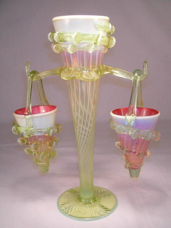 504: HANGING BASKET EPERGNE CRANBERRY VASELINE GLASS