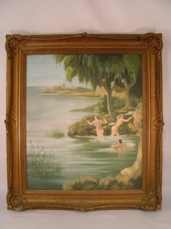 505: ANTIQUE OIL CANVAS PAINTING THREE NUDES BATHING