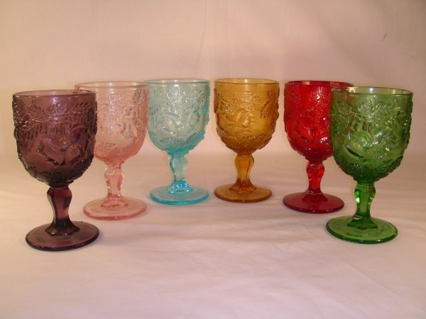 508: 6 PRESSED GLASS COLORED WATER TUMBLERS