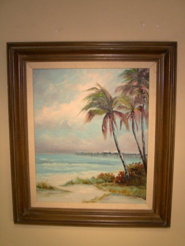 509: FLORIDA OIL PAINTING PALM TREES PIER EV MAC COURT