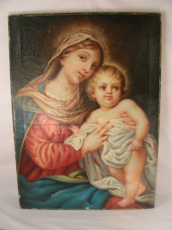 511: OIL CANVAS PAINTING MADONNA AND CHILD SIGNED A. V.