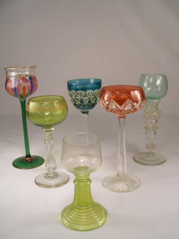 527: GROUP 6 COLORED RHINE AND WINE GLASS STEMS