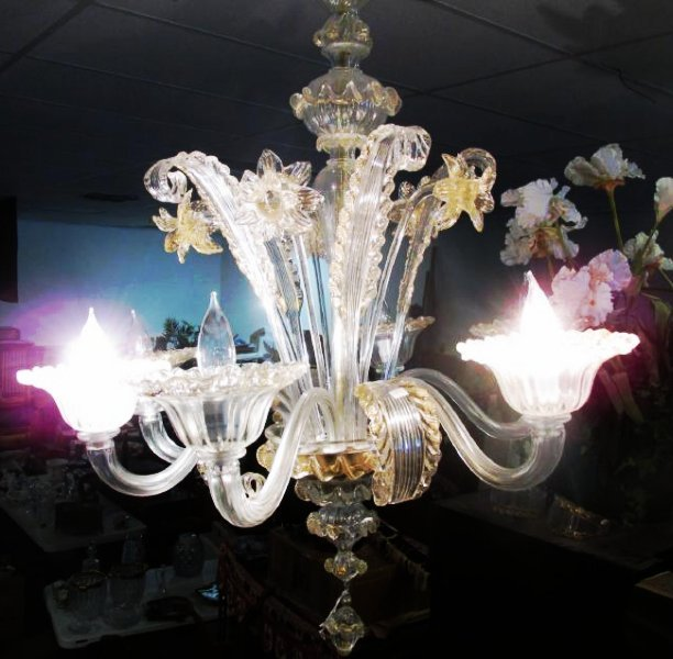 LARGE SIX ARM MURANO GLASS CHANDELIER