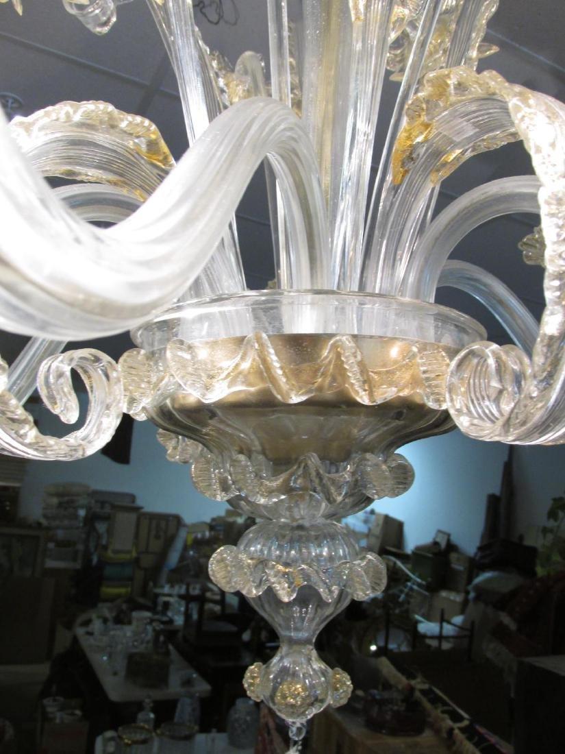 LARGE SIX ARM MURANO GLASS CHANDELIER - 7