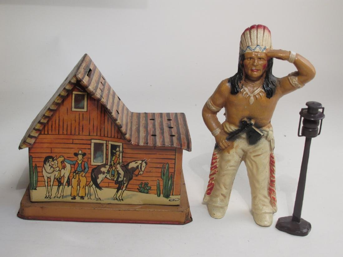 VINTAGE SILVER CITY FRONTIER TOWN TOY SET TIN LITH - 10