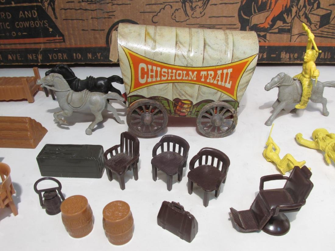 VINTAGE SILVER CITY FRONTIER TOWN TOY SET TIN LITH - 5