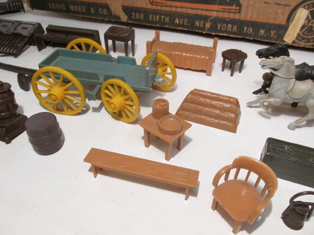 VINTAGE SILVER CITY FRONTIER TOWN TOY SET TIN LITH - 6