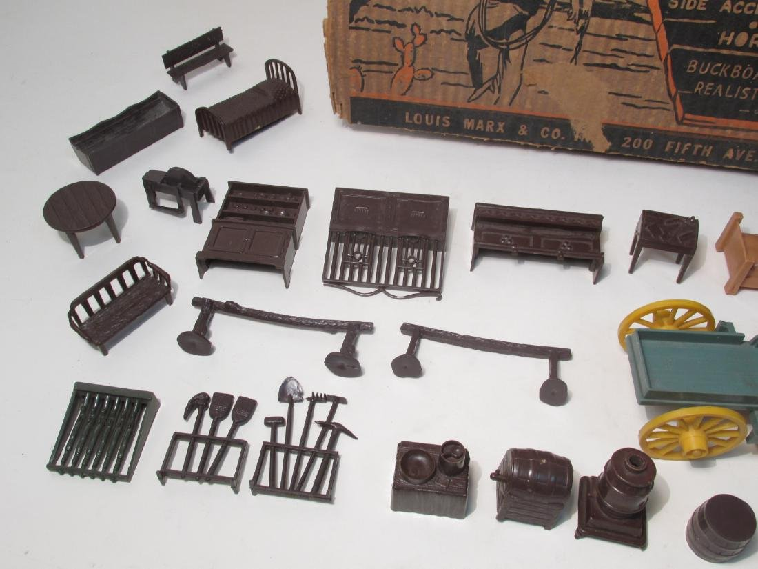 VINTAGE SILVER CITY FRONTIER TOWN TOY SET TIN LITH - 7