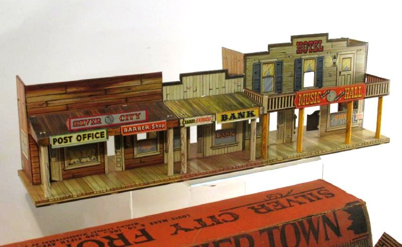 VINTAGE SILVER CITY FRONTIER TOWN TOY SET TIN LITH - 8