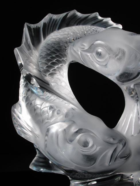 """LALIQUE """"DEUX POISSONS"""" FROSTED CRYSTAL FISH SCULP - 2"""