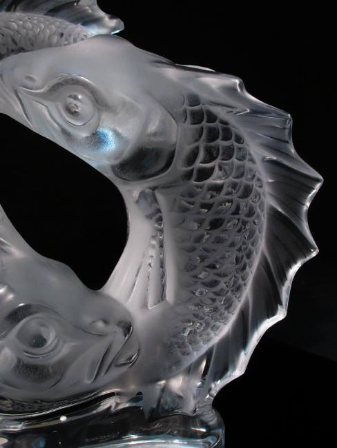 """LALIQUE """"DEUX POISSONS"""" FROSTED CRYSTAL FISH SCULP - 3"""