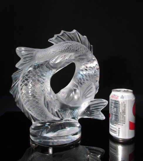"""LALIQUE """"DEUX POISSONS"""" FROSTED CRYSTAL FISH SCULP - 5"""