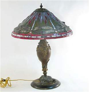 VINTAGE STAINED  LEADED GLASS DRAGONFLY LAMP