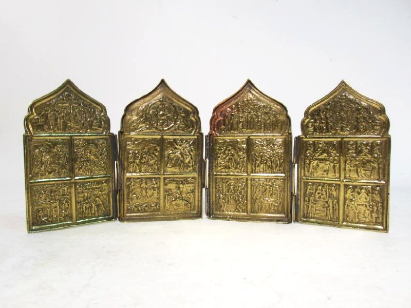 ANTIQUE RUSSIAN CAST BRASS FOLDING ICON TETRAPTYCH