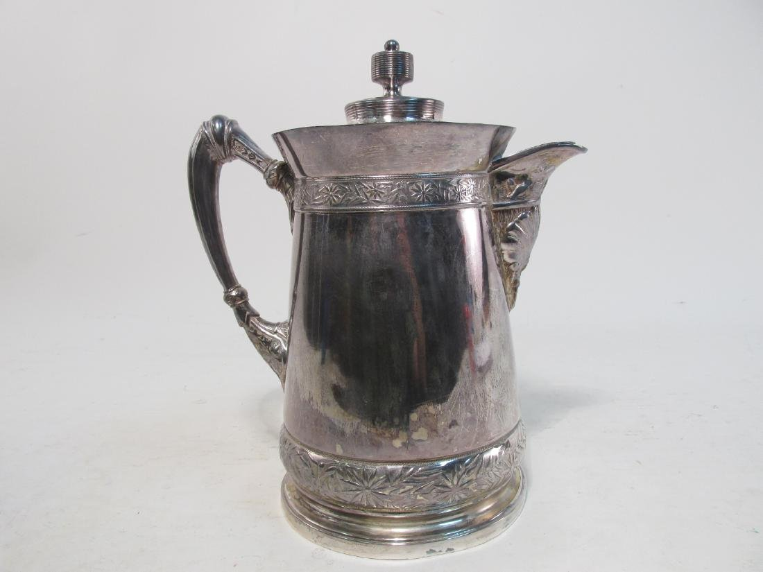 RARE 19TH C MERIDEN SILVER PLATED WATER PITCHER