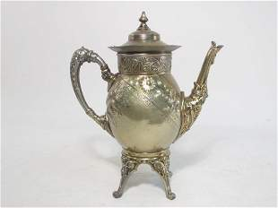 RARE ANTIQUE MERIDEN SILVER PLATED FOOTED TEAPOT