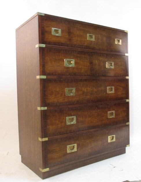 DREXEL CHINESE STYLE TEAKWOOD CHEST OF DRAWERS