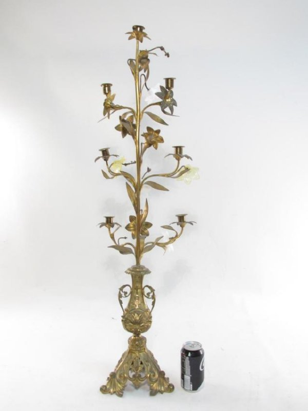 TWO 19TH C FRENCH GILT METAL & GLASS CANDELABRA - 10