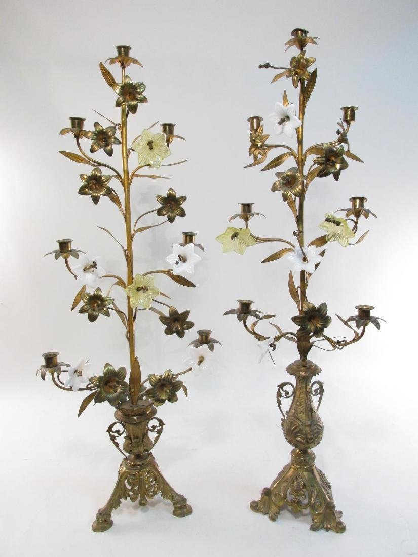 TWO 19TH C FRENCH GILT METAL & GLASS CANDELABRA