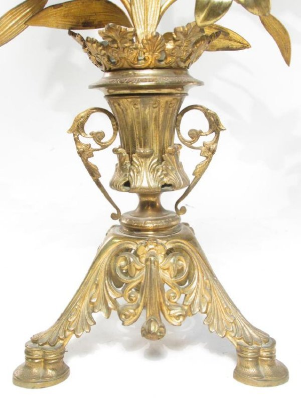 TWO 19TH C FRENCH GILT METAL & GLASS CANDELABRA - 7