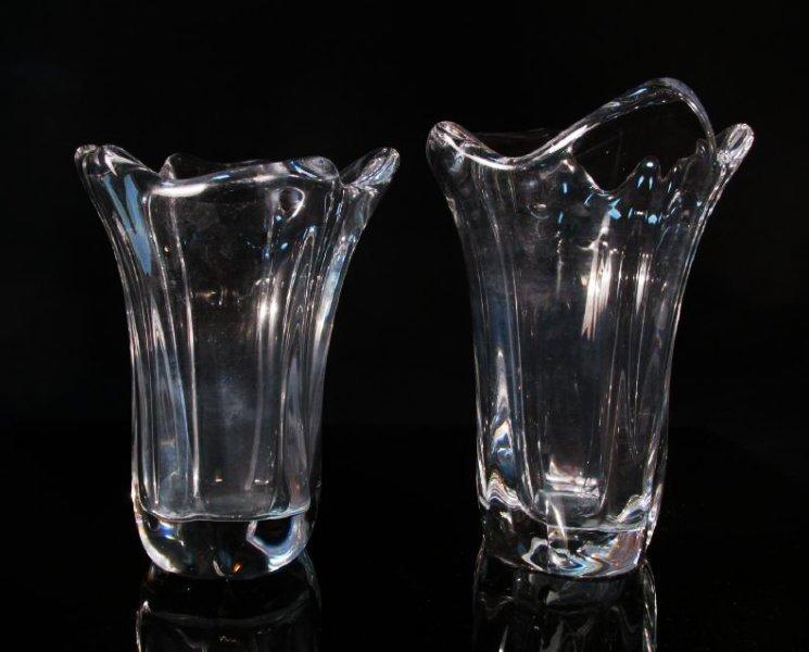 PAIR DAUM NANCY FREEFORM CLEAR GLASS VASES