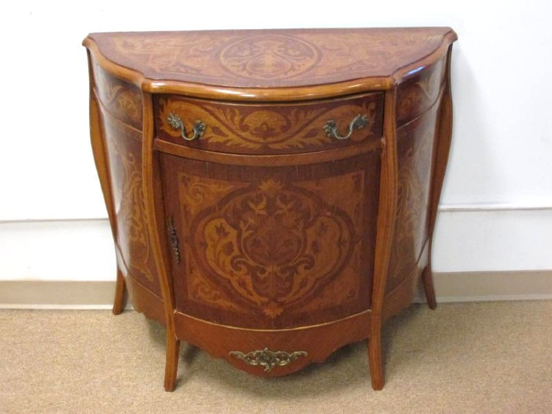 VINTAGE MARQUETRY INLAID DEMILUNE CHEST CABINET