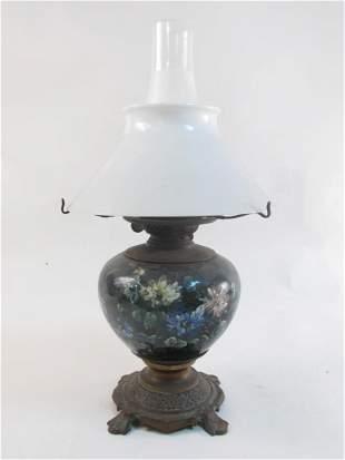 ANTIQUE ENAMELED BRONZE  MILK GLASS OIL LAMP