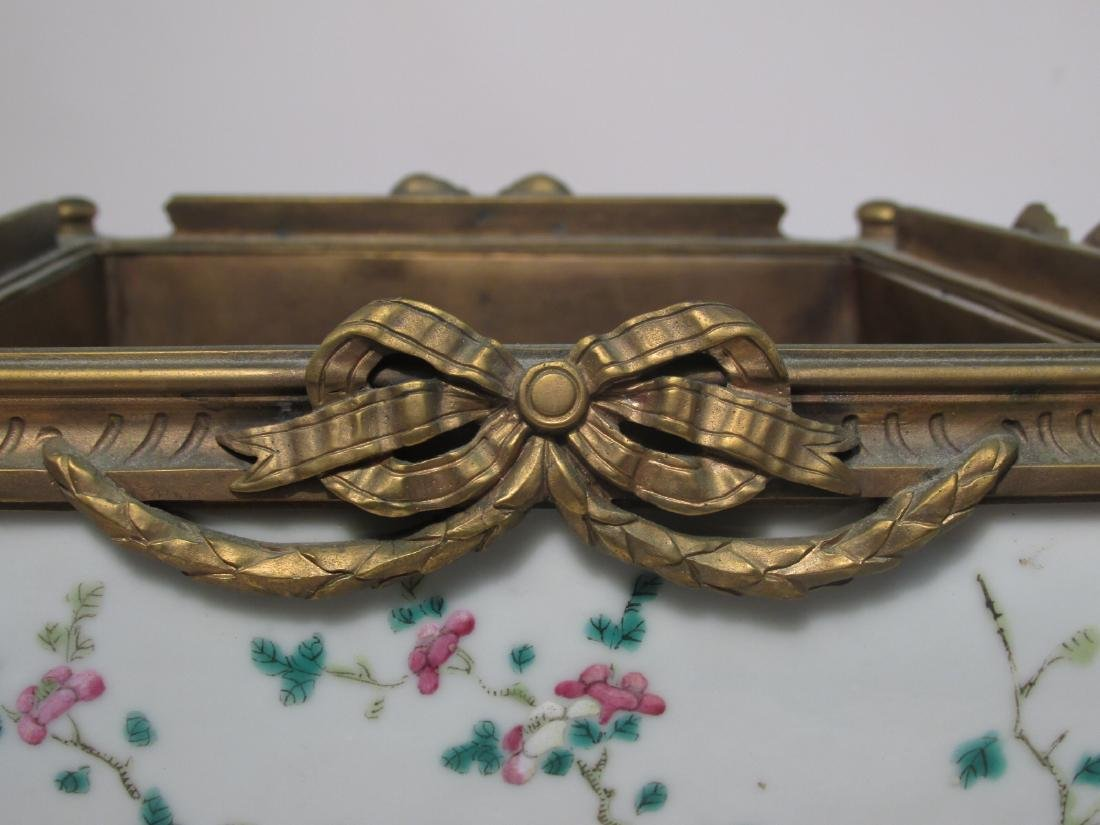 EARLY 19TH C FAMILLE ROSE INLAID BRONZE PLANTER - 2
