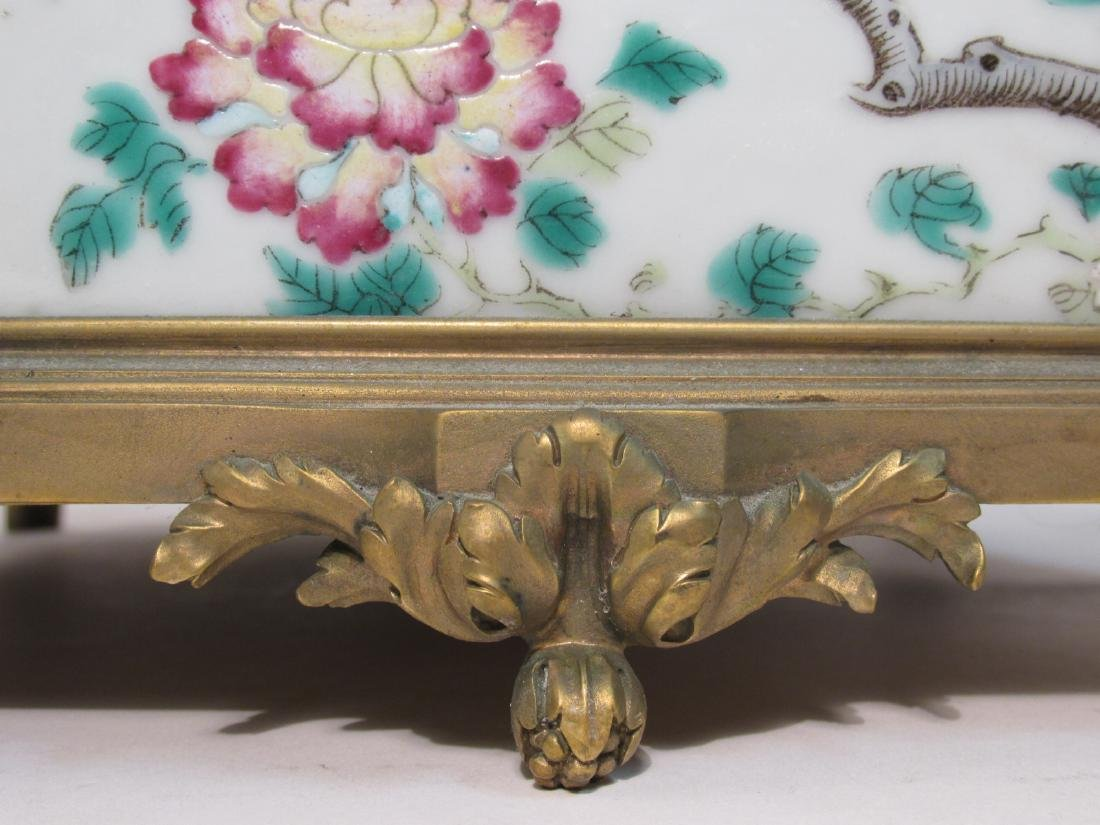 EARLY 19TH C FAMILLE ROSE INLAID BRONZE PLANTER - 4