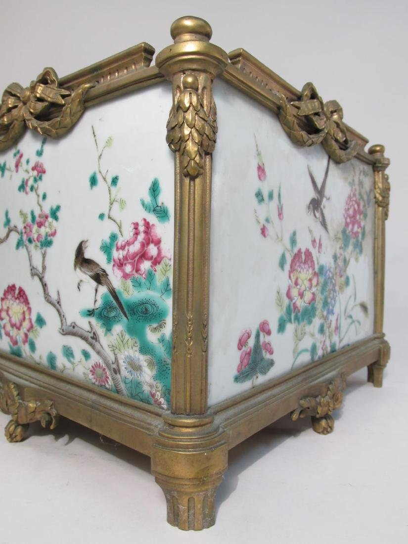 EARLY 19TH C FAMILLE ROSE INLAID BRONZE PLANTER - 5