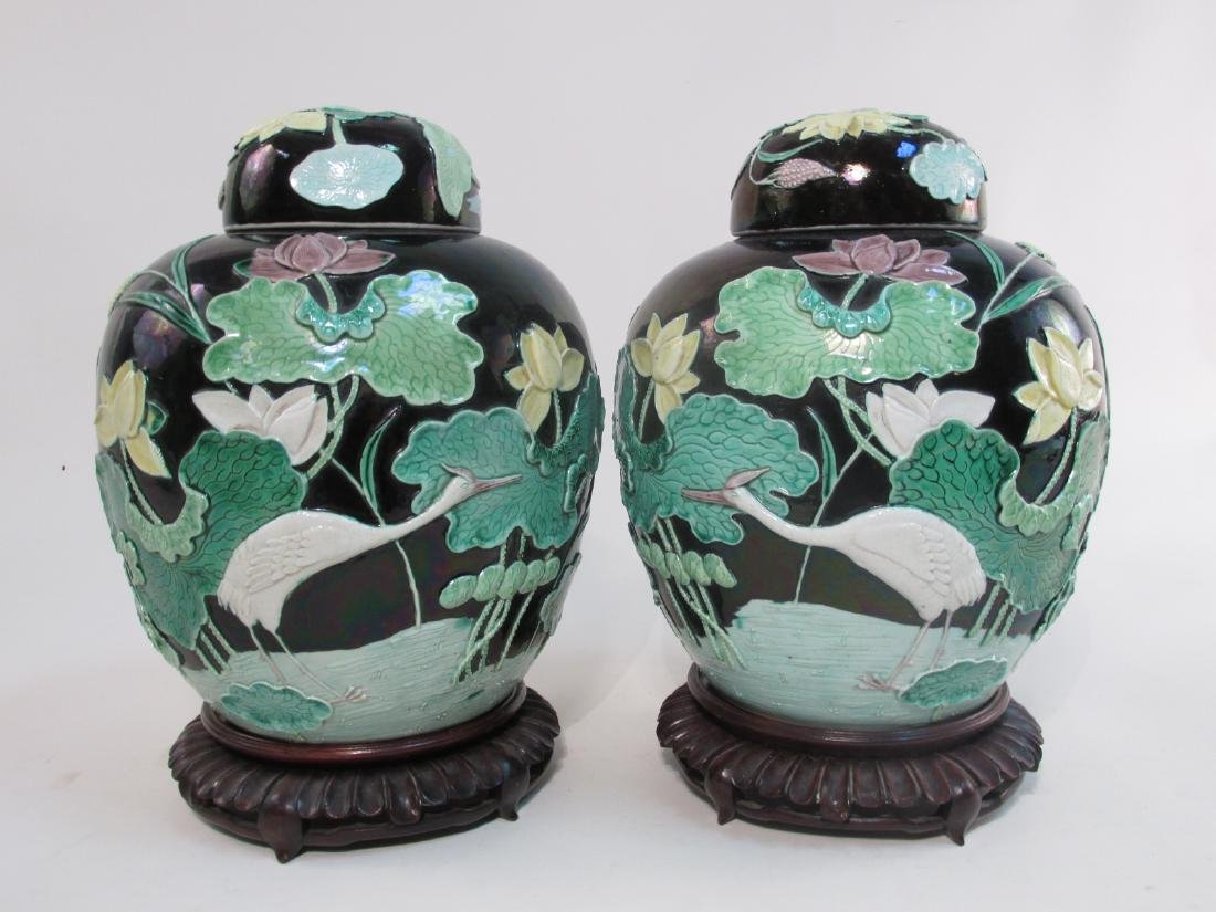 PAIR CHINESE QING DYNASTY RELIEF POTTERY GINGER JA