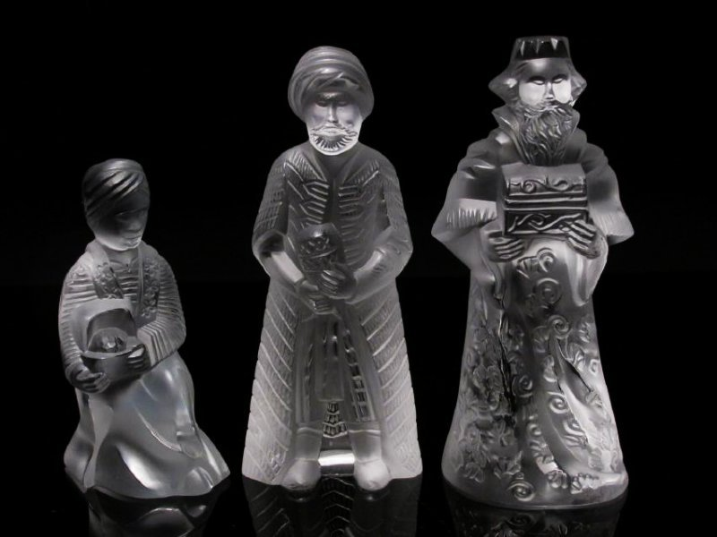 "THREE LALIQUE ""WISE MEN"" CRYSTAL FIGURINES"