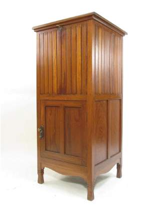 ARTS  CRAFTS MISSION STYLE TALL WOODEN CABINET