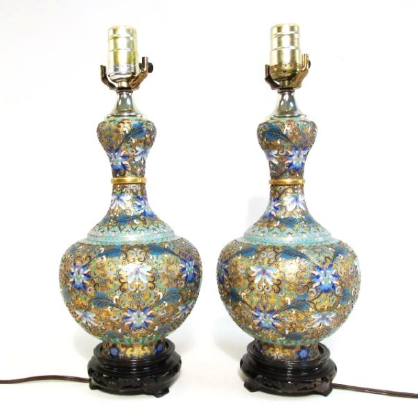 PAIR CHINESE CLOISONNE VASES MOUNTED AS TABLE LAMP