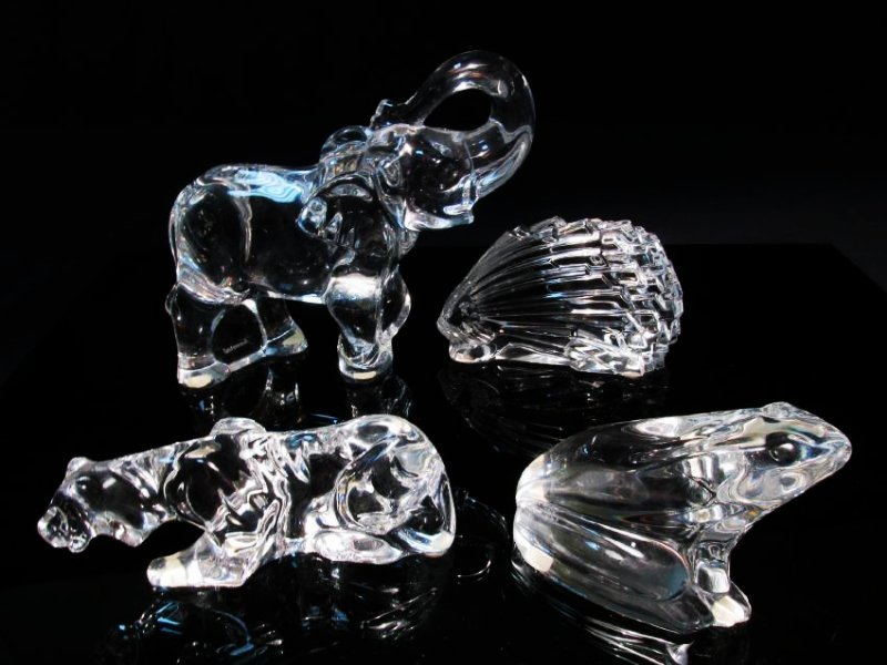 FOUR BACCARAT CLEAR CRYSTAL ANIMALS: ELEPHANT ETC.