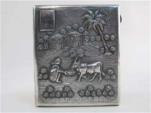 VINTAGE CHINESE EMBOSSED SILVER CIGARETTE CASE