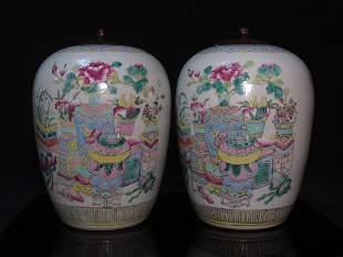 PAIR CHINESE FAMILLE ROSE PORCELAIN GINGER JARS