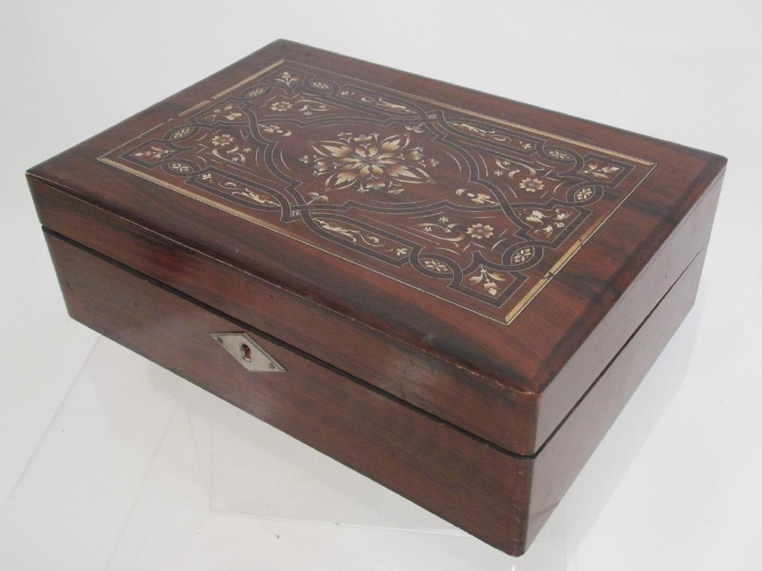 19TH C MARQUETRY INLAY WRITING BOX LAP DESK