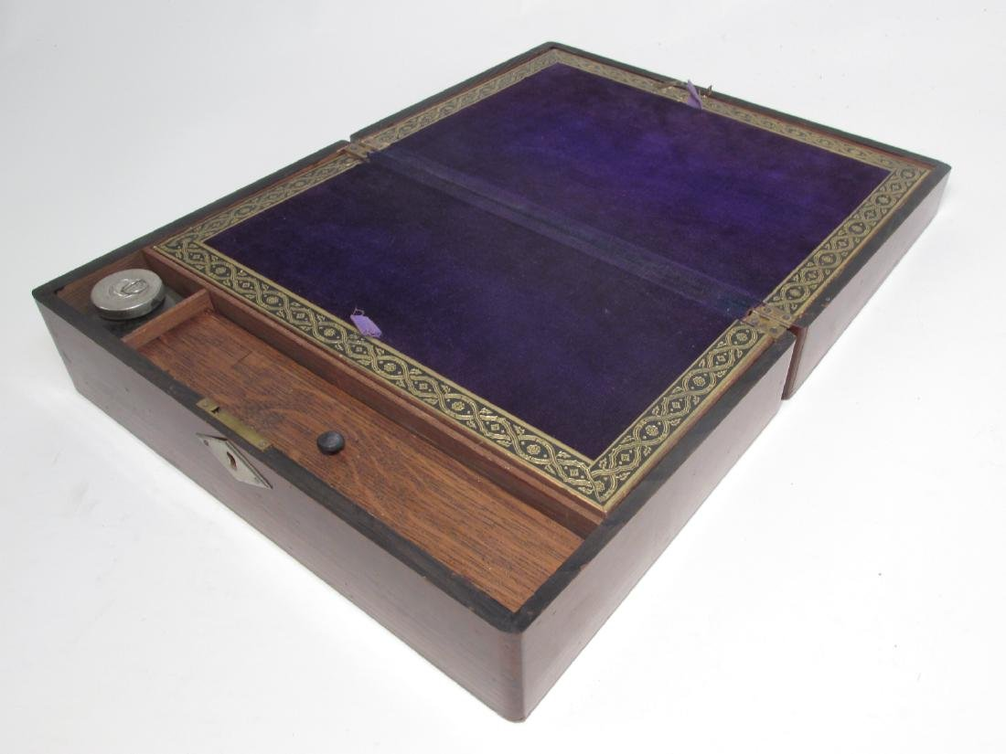 19TH C MARQUETRY INLAY WRITING BOX LAP DESK - 4